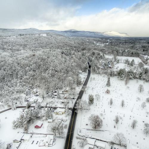 hdr landscape aerial drone dji quadcopter winter show road driving mountains berkshires connecticut massachusetts salisbury