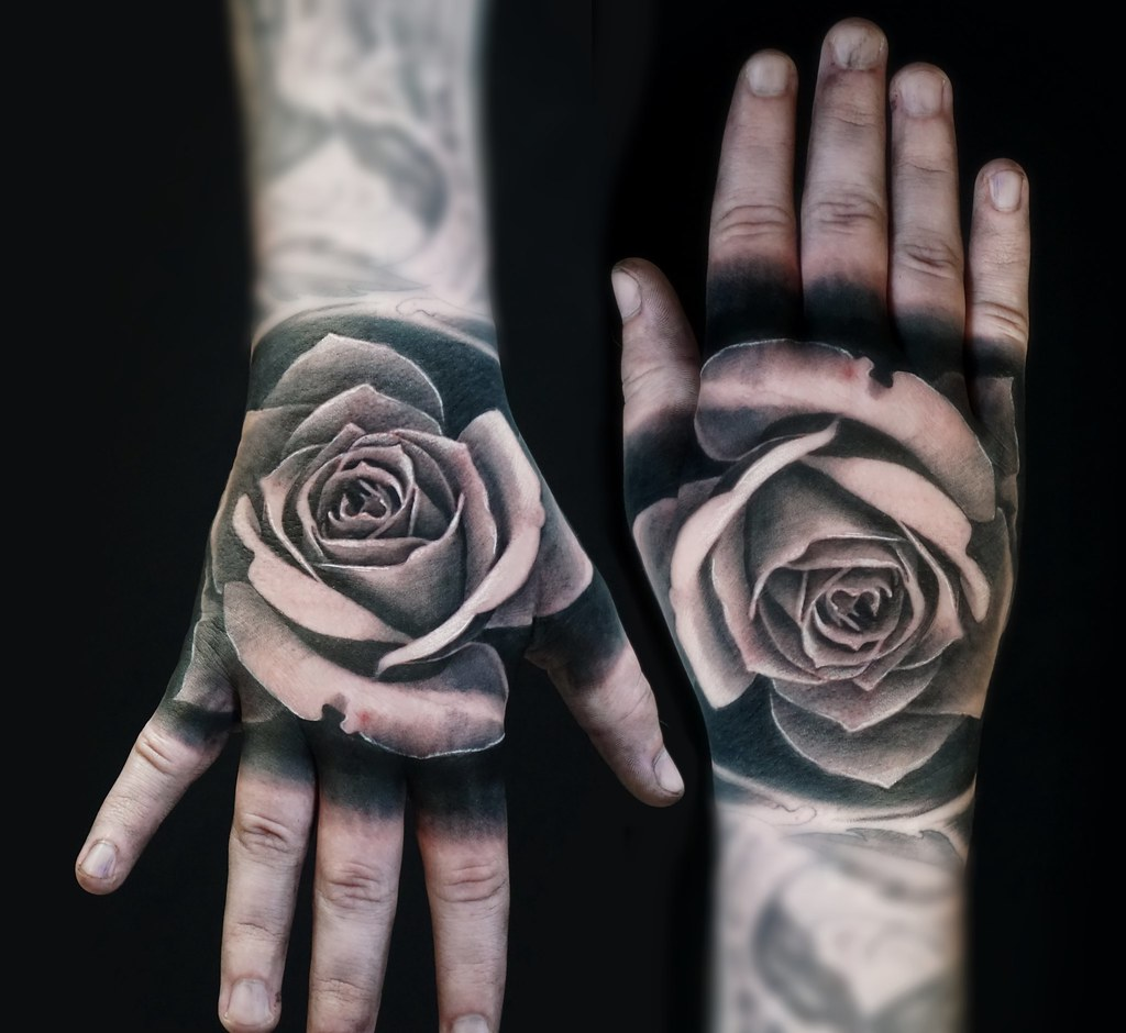 Black And Grey Tattoo Realistic Rose On The Hand Alo Loco