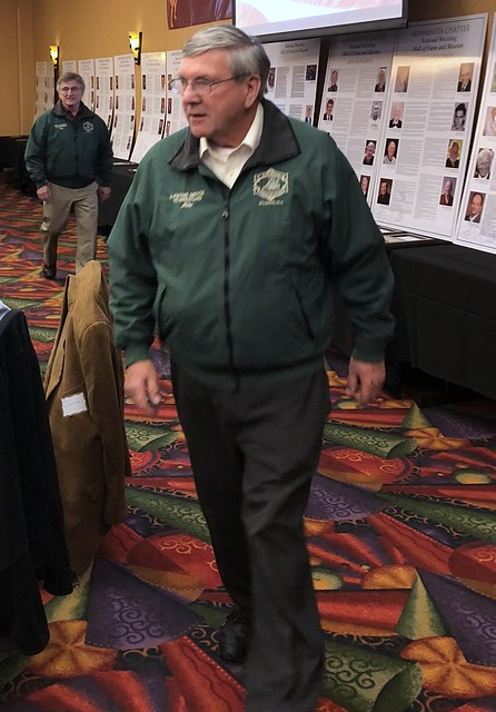VP of Nominations Mike Bredeck in the Green Jacket Parade of NWHOF Lifetime Service Winners.