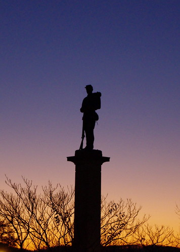 morning blue light sky orange public silhouette statue sunrise soldier outdoors greensburg westmoreland