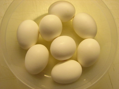eggs in glass bowl
