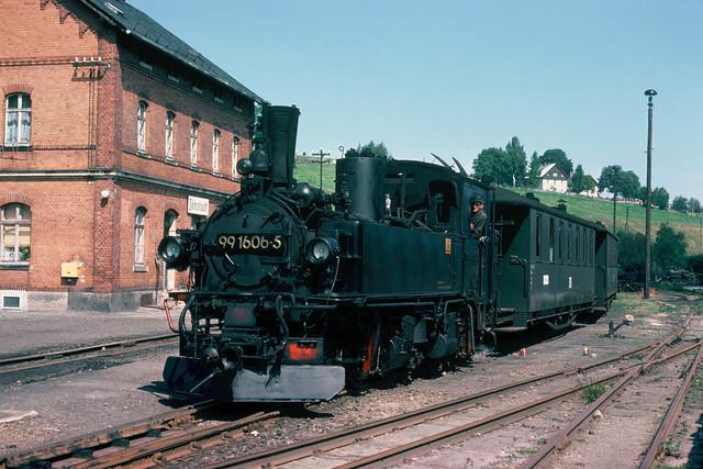 DR 99 1606-5 in Jöhstadt, DDR, 1976.