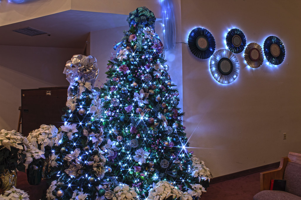 Silver, Purple, And Blue Themed Christmas Tree In LED Ligh