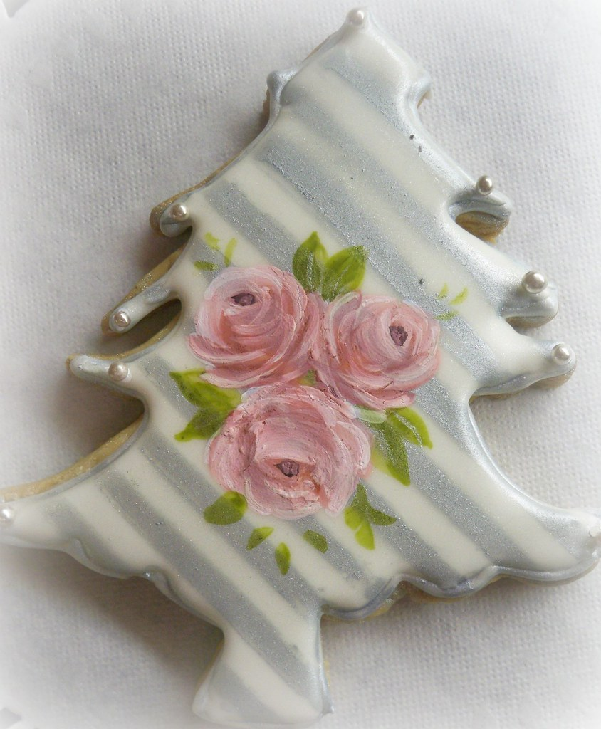 Silver Stripes And Handpainted Roses Christmas Sugar Cooki Flickr