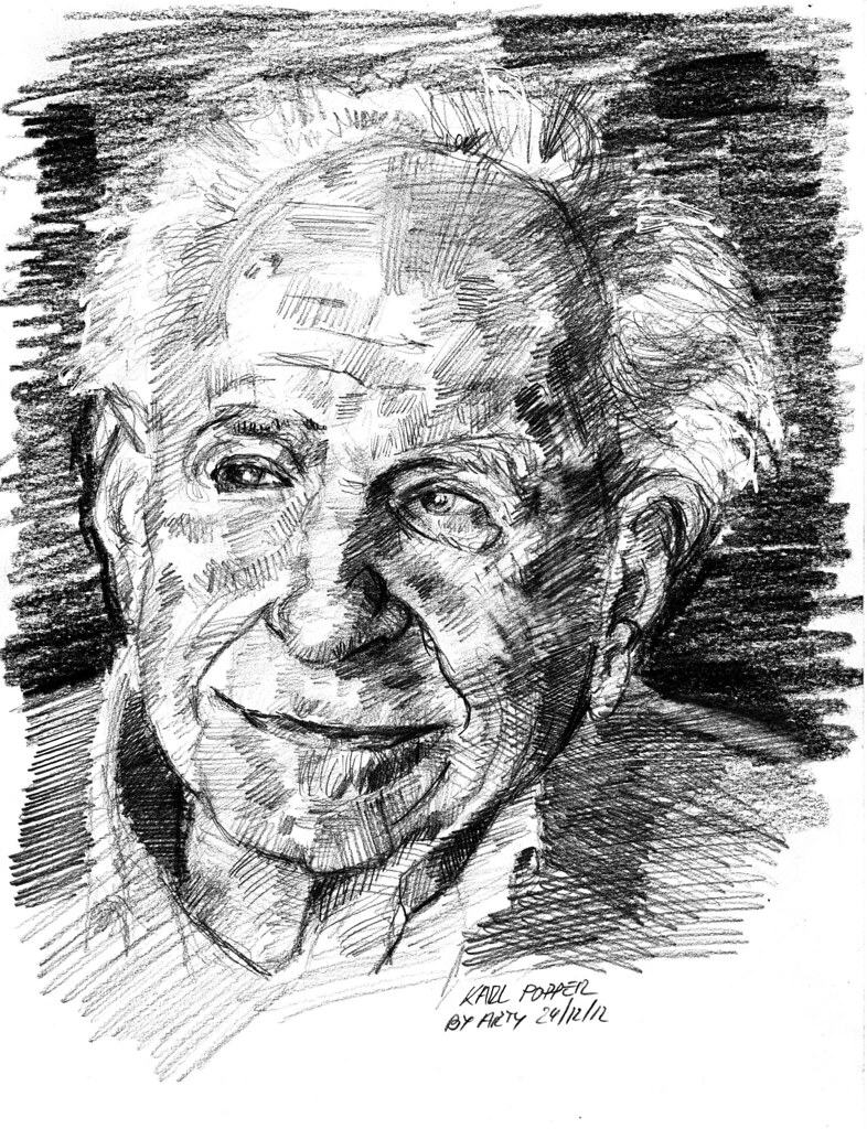 Karl Popper for PIFAL | Pencil HB, 2B and Graphite 9B on can… | Flickr