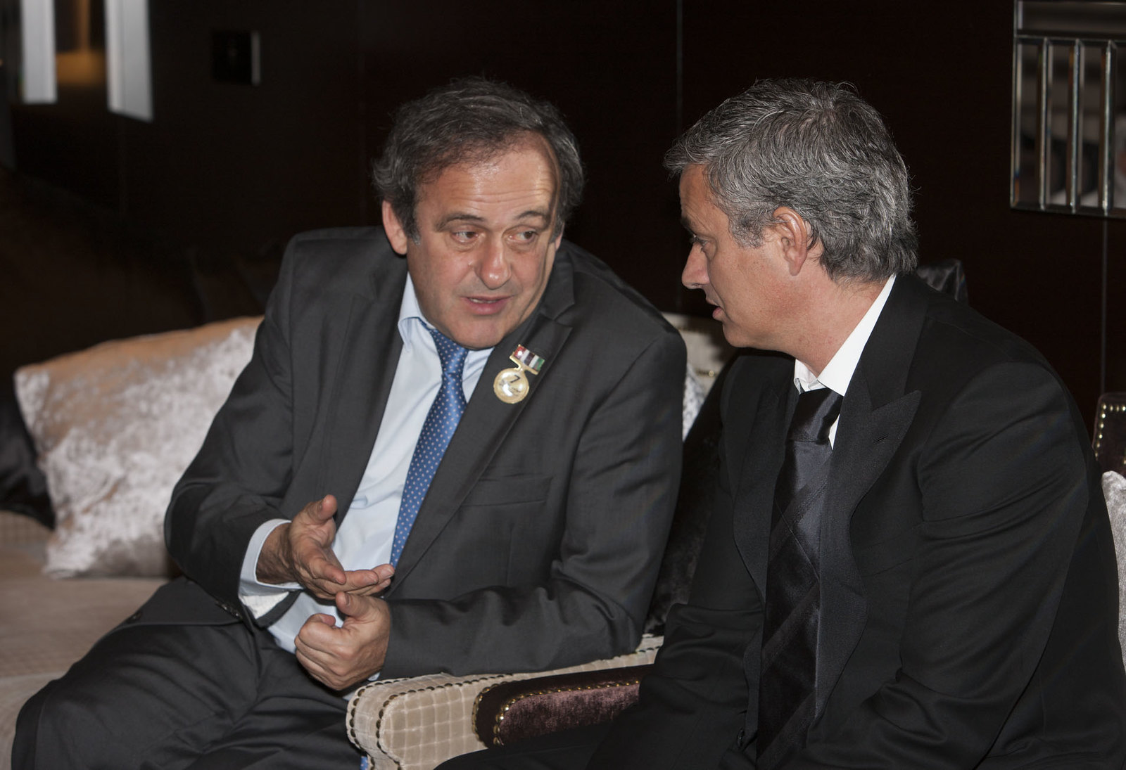 Michel Platini and Josè Mourinho