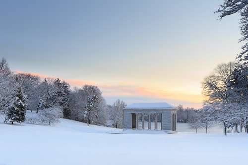 park winter snow weather sunrise dawn day providence rhodeisland templeofmusic rogerwilliampark