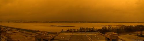 bridge fog sunrise river weird louisiana unitedstatesofamerica batonrouge weirdsky iso31662us puttknobphotography puttknob