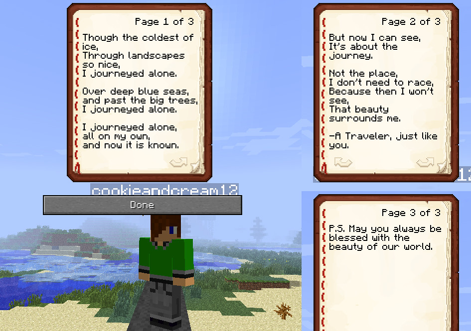 Minecraft Journey Poetry by Cookie (age 13)