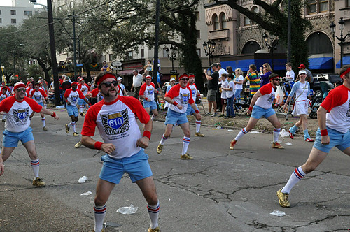 610 Stompers in the Krewe of Carrollton Parade on St Charles Ave
