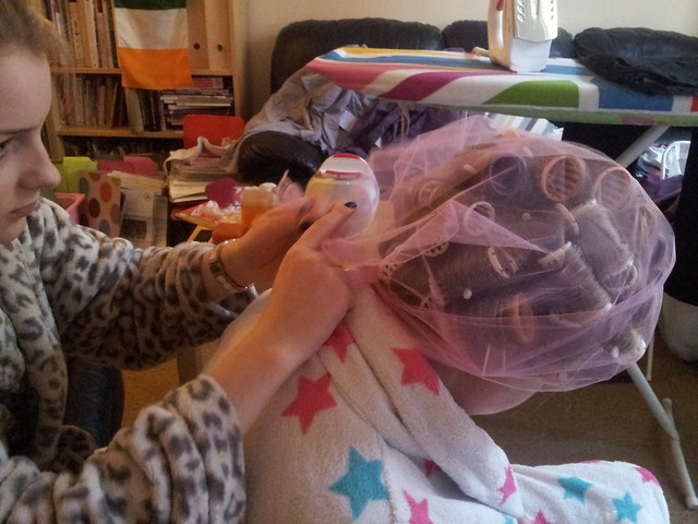Laurens hair in Curlers and hairnet Dec 2012