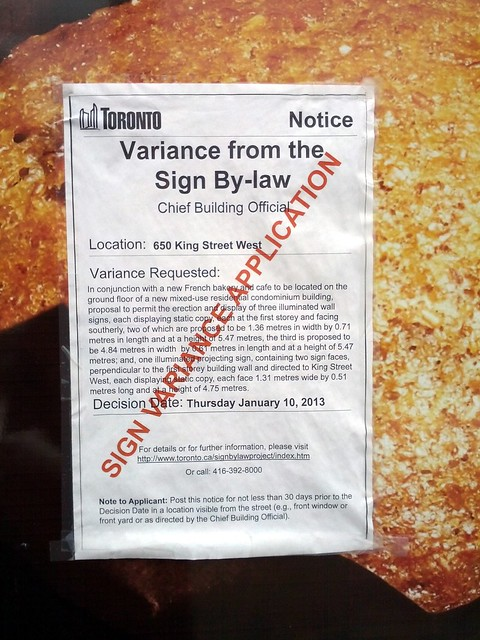 Sign by-law variance application notice, King Street West, Toronto, Ontario, Canada