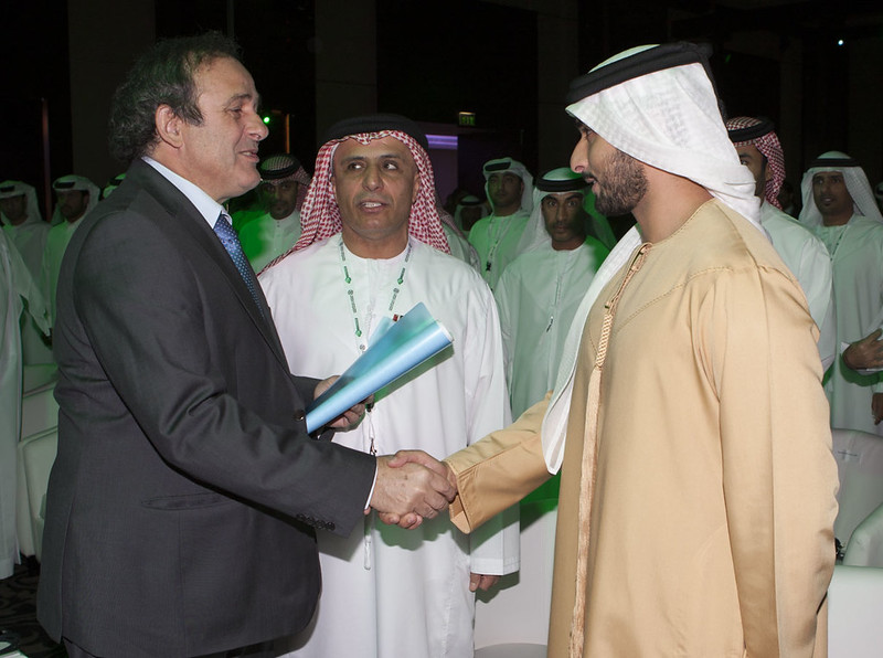 Sheikh Al Maktoum, Michel Platini and Mattar Al Tayer