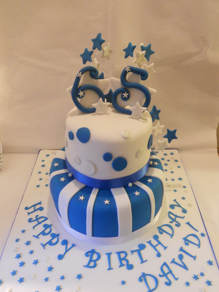 Terrific Blue Silver White 65Th Birthday Cake Stars Facebook Co Flickr Funny Birthday Cards Online Inifofree Goldxyz