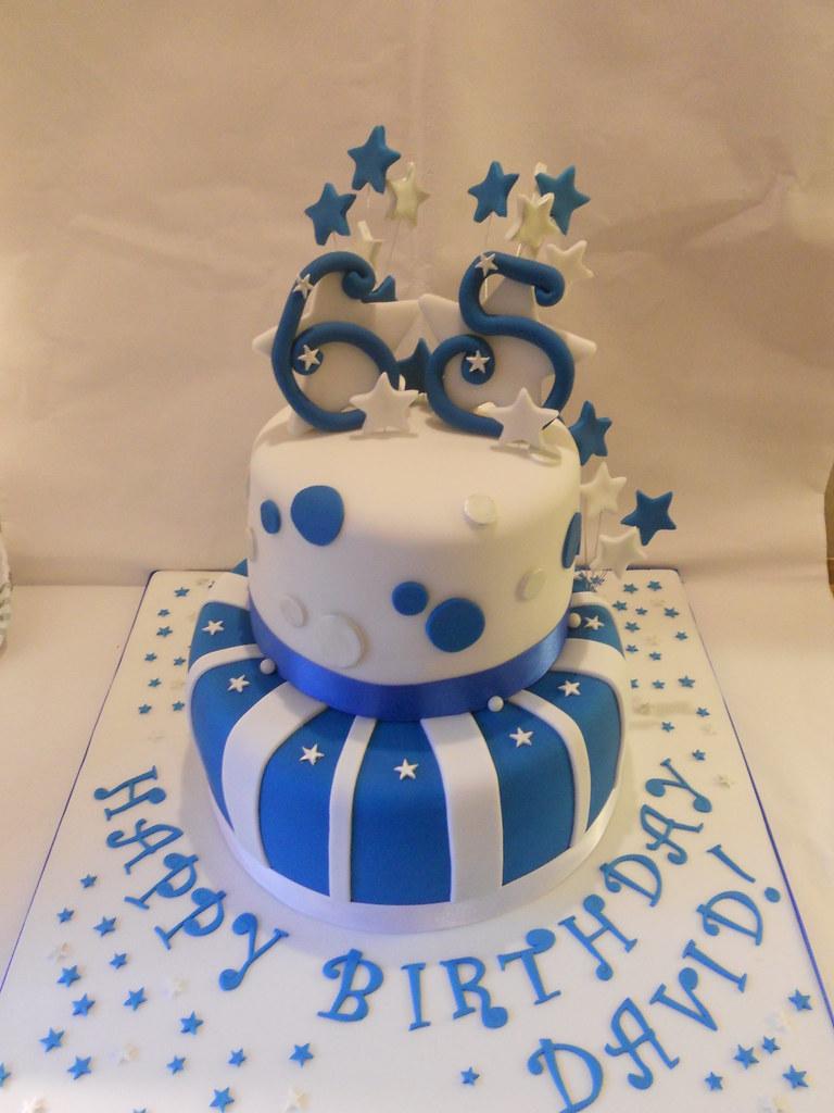 Surprising Blue Silver White 65Th Birthday Cake Stars Facebook Co Flickr Personalised Birthday Cards Veneteletsinfo