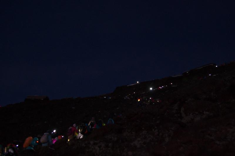 La colonne de randonneurs en direction du sommet