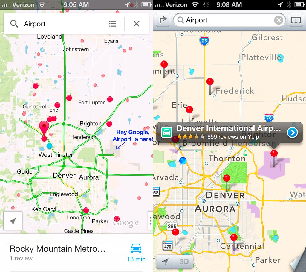 Apple Maps Vs Google Denver Airport search | Google doesn't ... on denver on map, denver maps by neighborhood, denver art museum map, denver city street map,