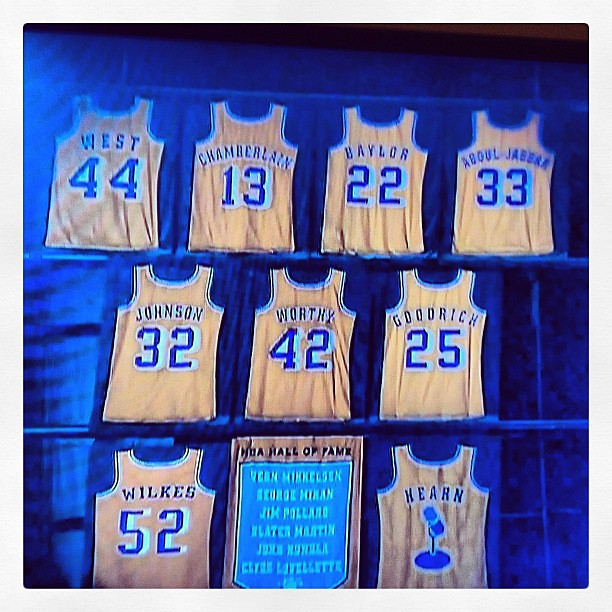 5f088fa9f ...  Lakers  Jerseys  retired  LA  LosAngeles  StaplesCenter  Basketball   Legends