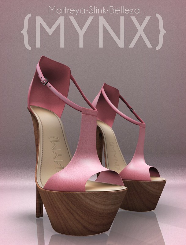 {MYNX} Stiletto Peep Toes - Pink Wood