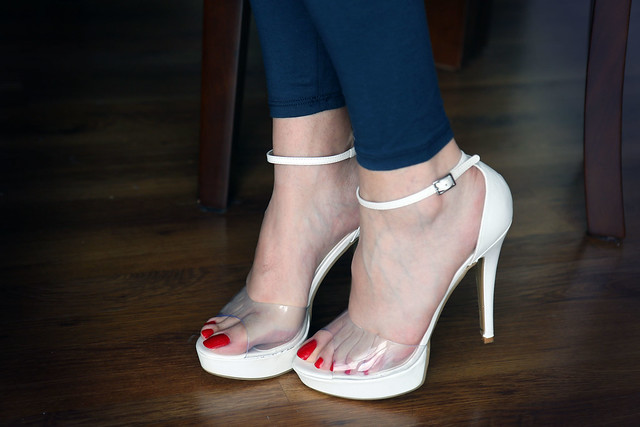 clear white heels