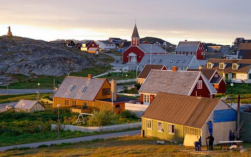 houses sunset church repair greenland d800 nuuk