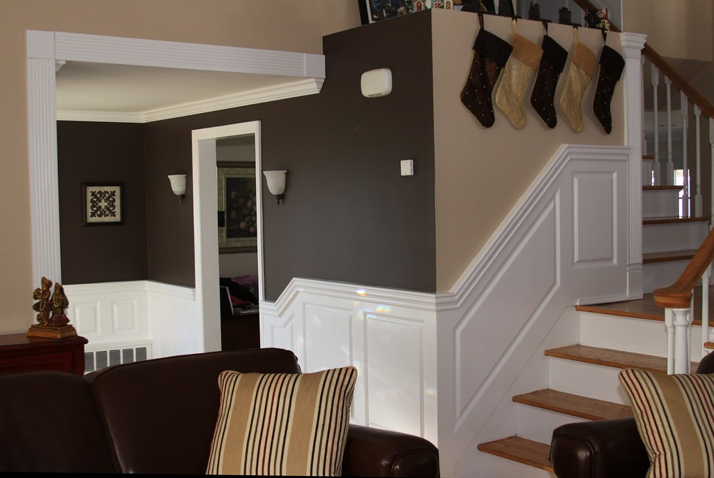 ... Beaded Raised Panel Wainscoting On A Living Room Staircase In Bellmore  NY | By Wainscoting America