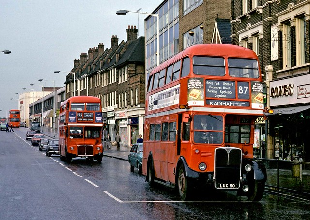 London Transport: RT1989 (LUC90) from Barking Garage on Route 87 followed by RM811 (WLT811) on Route 193 in Station Parade, Barking