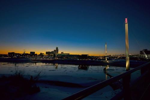 bridge sunset snow ice skyline river flow nebraska bob pedestrian iowa kerry missouri omaha lightroom a55 picmonkey