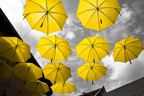 umbrellas sky street selectivecoloring cityscape zuiko 24 scene scenery view szentendre