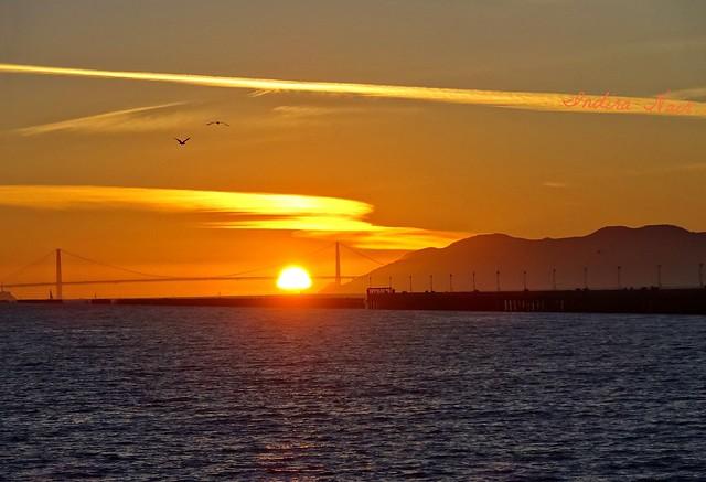 Golden sunset at the Golden Gate...