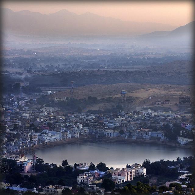 India. Rajasthan, Pushkar from Savitri temple just before sunrise..