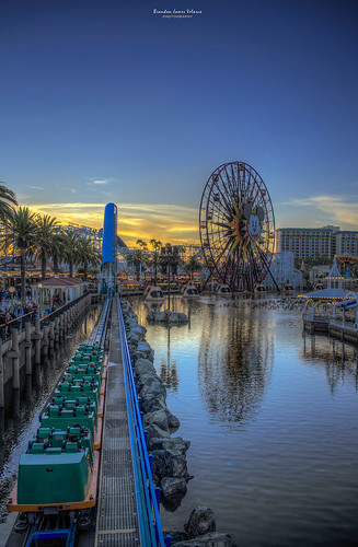 california sunset people reflection water colors clouds landscape pier nikon colorful disneyland happiness disney tourists mickeymouse rollercoaster orangecounty hdr californiaadventure californiasunsets d7000 nikond7000
