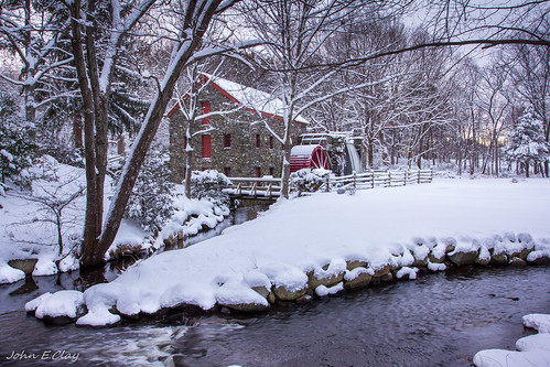winter snow sunrise ma massachusetts newengland sudbury waysideinngristmill jclay