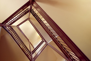 One of two newly added stairwells in the totally renovated Pearsons Hall in 2003