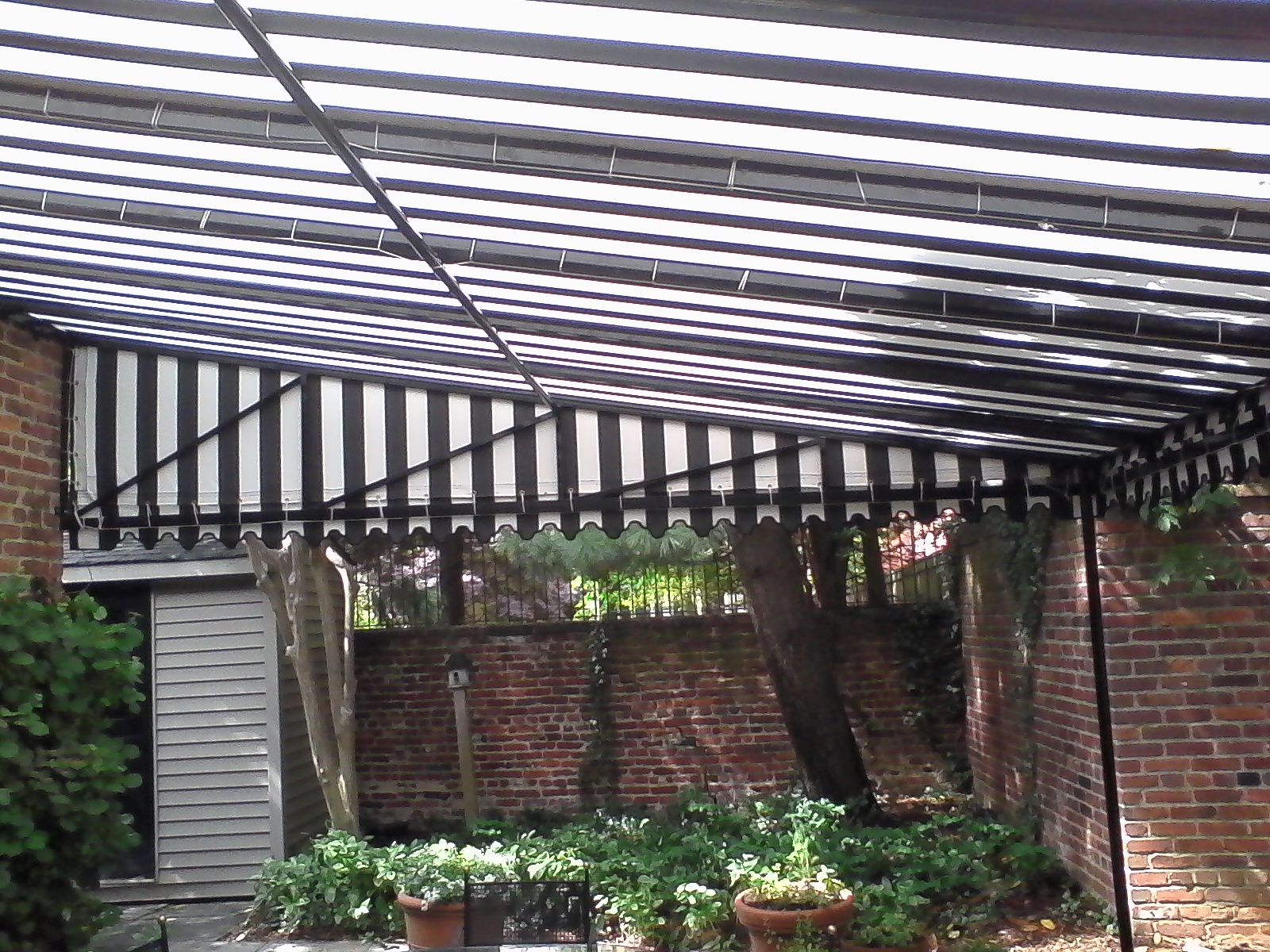 Stunning Black and White Striped Patio Awning