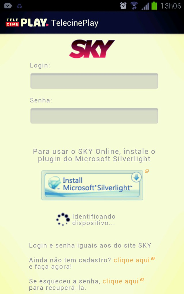 Telecine Play SKY no Android - Tela de Logon | Roger Silva | Flickr