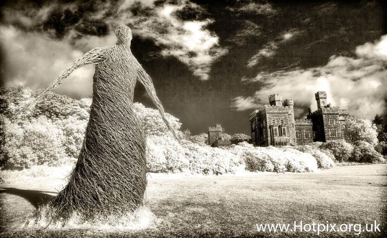 Lews,Castle,Lews castle,garden,gardens,Lewis,Isle,Stornoway,Scotland,Wicker,woman,lady,wickerwoman,wickerman,man,ir,infrared,infra,red,720nm,b/w,mono,black,white,digitaluk