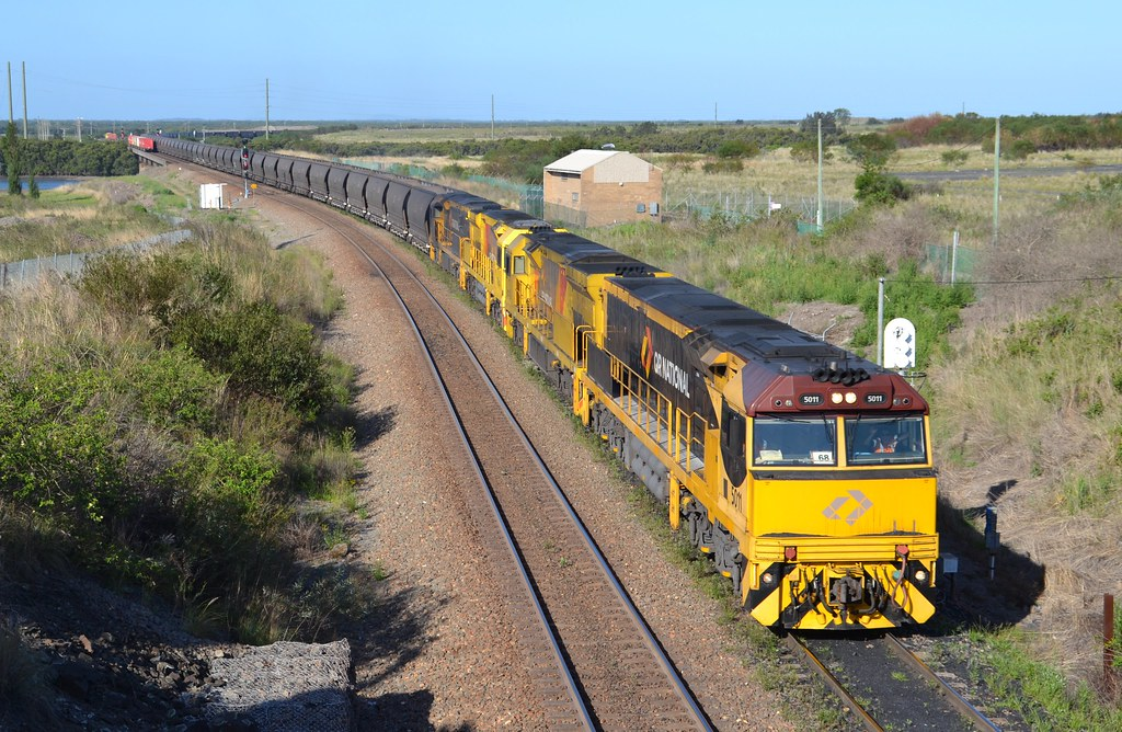 5011-5023-5034-5008 empty Aurizon coalie leaving Kooragang by LOCOPOWER