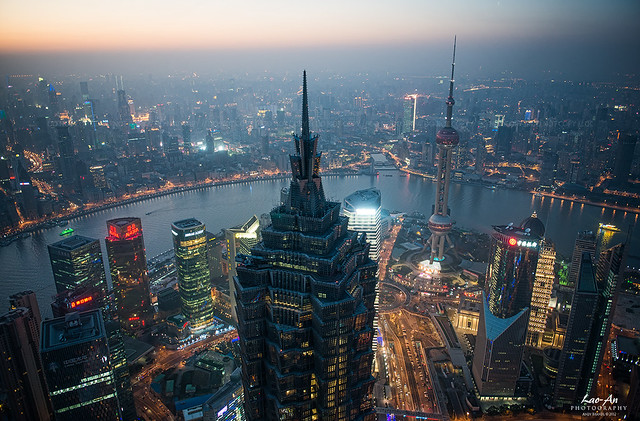 Shanghai Dusk (Jin Mao Tower, Huangpu River, The Bund) I