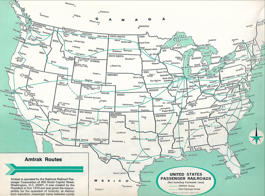 AMTRAK map 1978. John Coyle scan | Also shows other rail pas ... on