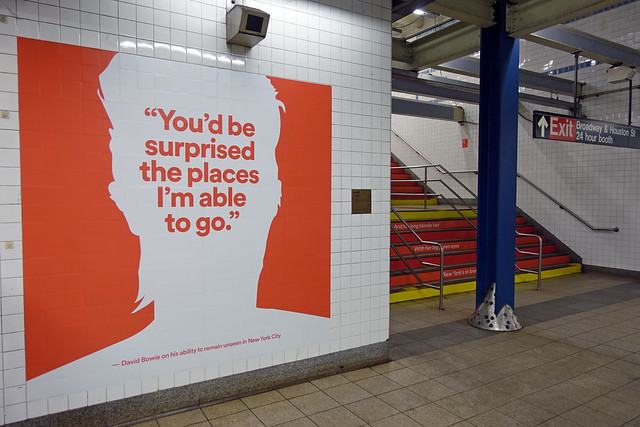 """""""David Bowie is here"""" Exhibit at """"Broadway-Lafayette"""" Subway Station in NoHo in Manhattan in New York City, NY"""