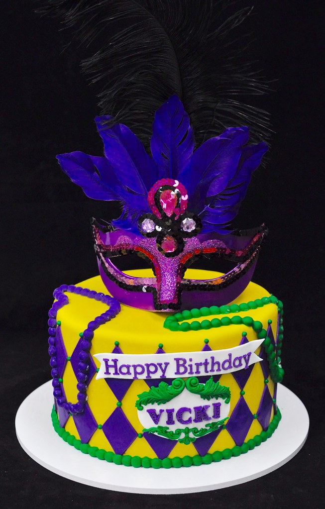 Stupendous New Orleans Masquerade Cake Jenny Wenny Flickr Personalised Birthday Cards Veneteletsinfo
