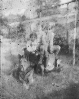 kids posing with dog and toy car