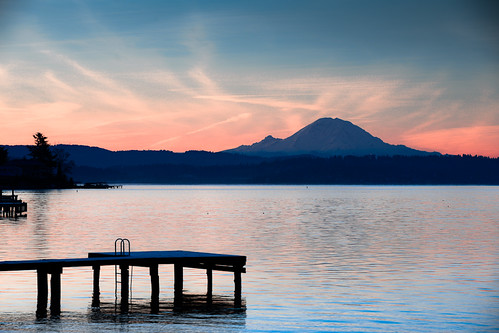 seattle lake sunrise washington mt mount rainier