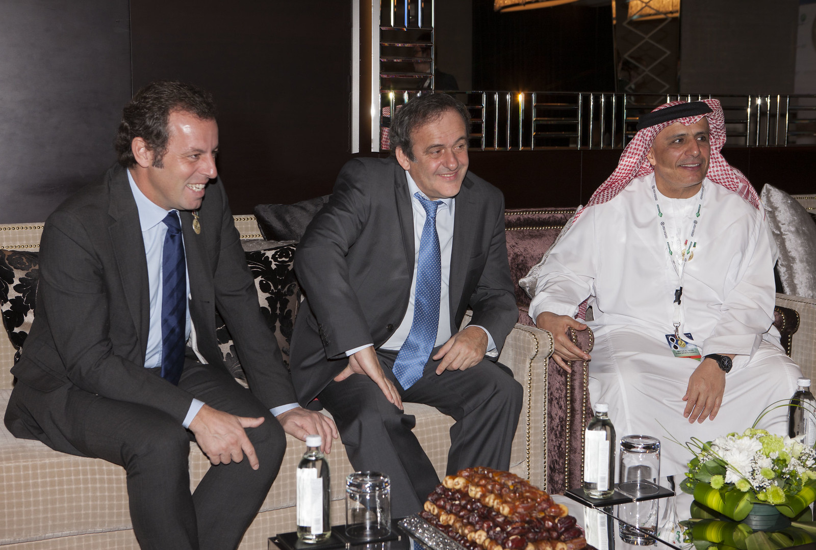 Sandro Rosell, Michel Platini and Mattar Al Tayer