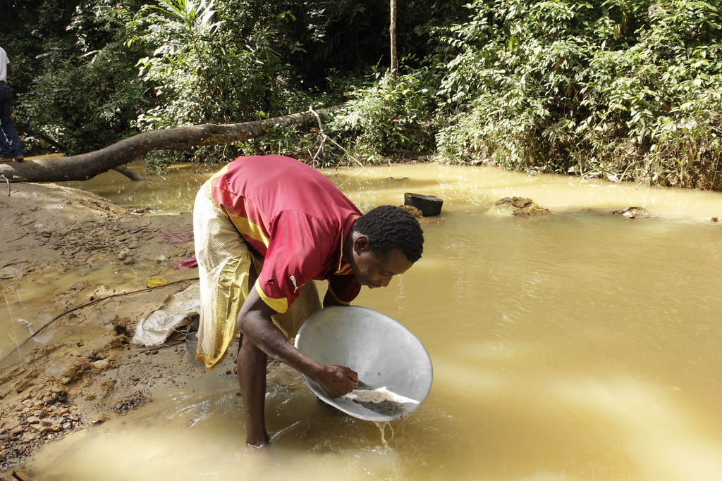 Gold panning in LTTC-Mandra forest concession