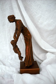 Mother and Child.  Paverpol sculpture.  14in high