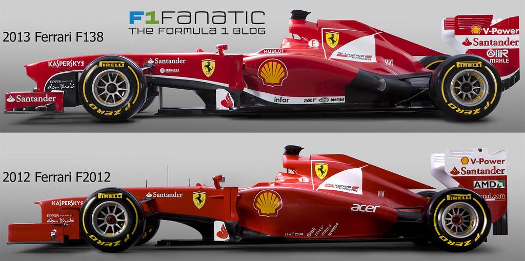 Comparison F1 Ferrari F138 2013 And F2012 2012 Side View Flickr