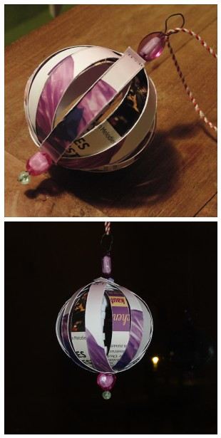 Christmas Ornament...made from journals and ads