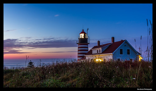 ocean longexposure morning lighthouse sunrise maine atlanticocean quoddyheadlight